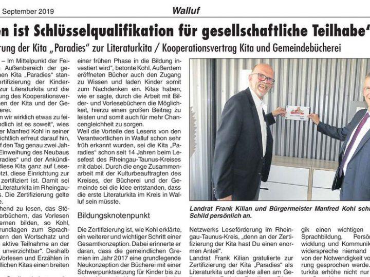 """""""Lesen ist Schlüsselqualifikation für gesellschaftliche Teilhabe"""""""