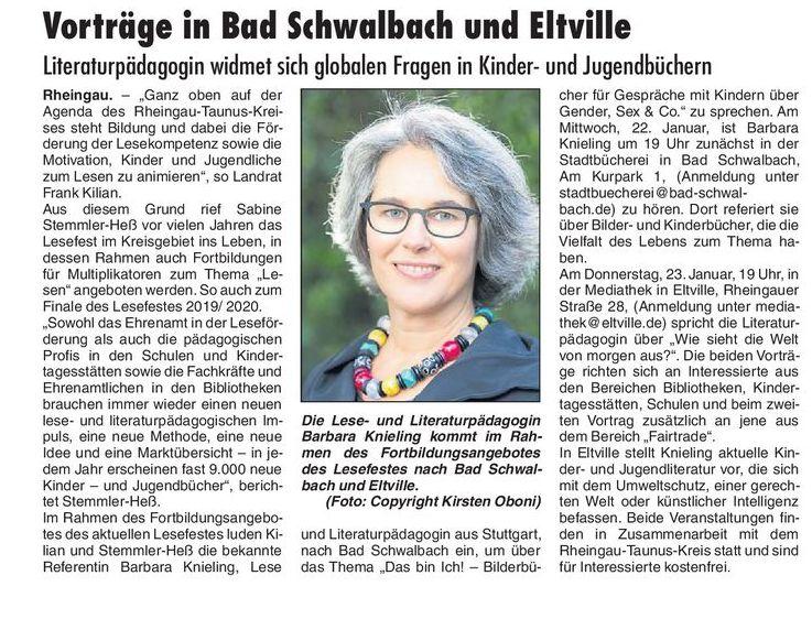 Vorträge in Bad Schwalbach und Eltville