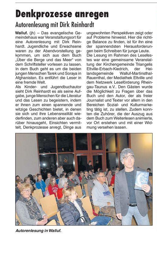 Autorenlesung mit Dirk Reinhardt
